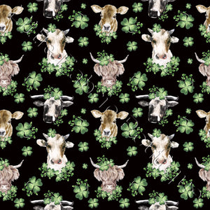 Lucky Cows Black - Woven Cotton