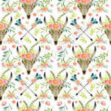Floral Longhorns and Arrows - Woven Cotton | Online Fabric Shops