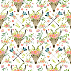 Floral Longhorns and Arrows - Woven Cotton