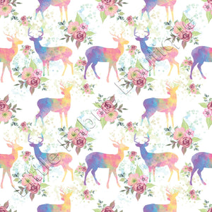 Watercolour Rustic Floral Deers - Knit 220gsm