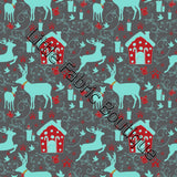 Christmas Deers and House - Knit 220gsm | Buy Fabric Online Australia