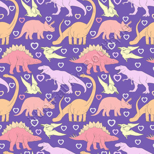 Girly Dinosaurs on Purple - Woven Cotton - Remnant