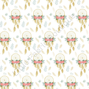 Golden Floral Dreamcatchers - Muslin | Buy Fabric Online Australia