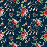Watercolour Blooms and Dreamcatchers Navy - Woven Cotton
