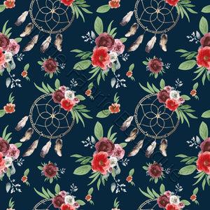 Watercolour Blooms and Dreamcatchers Navy - French Terry