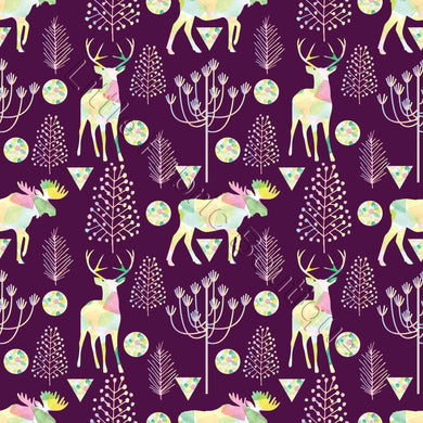 Deers and Elks on Violet - Woven Cotton
