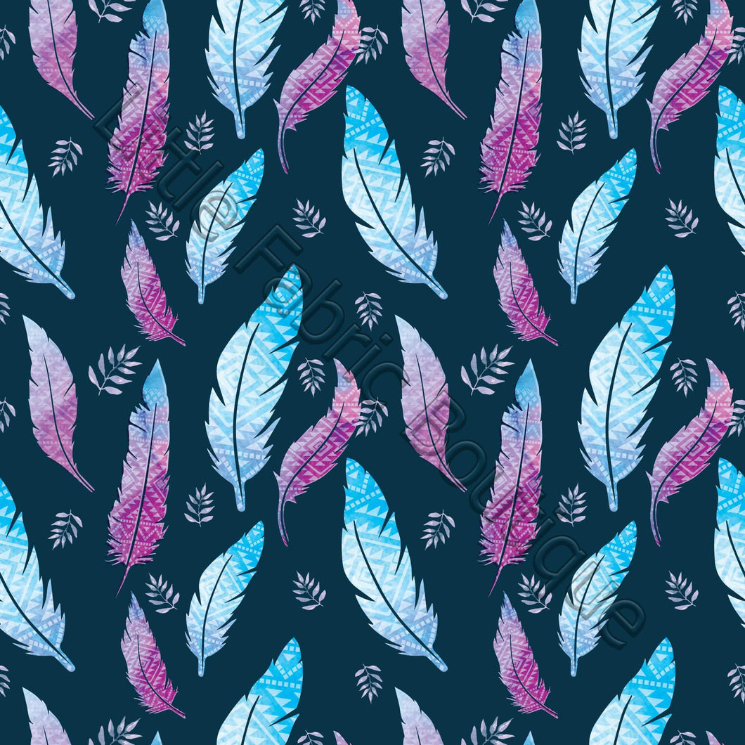 LFB Blue and Purple Feathers Navy