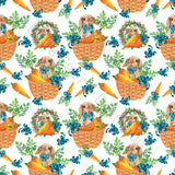 Bunnies in Baskets White - Knit 220gsm | Cheap Online Fabric Australia