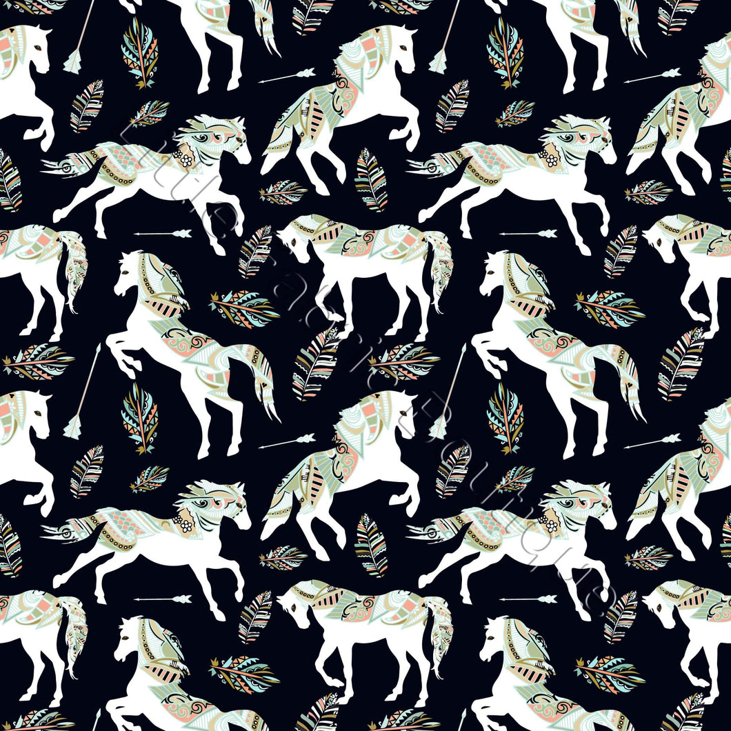 Tribal Horses Black - Woven Cotton