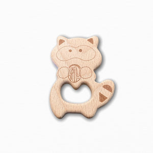 Wooden Raccoon Teether Ring