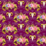 Sheep Skull Floral 7 - Woven Cotton