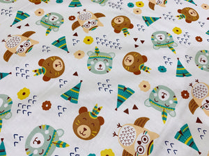 Bears and Teepees White | Online Fabric Shopping Australia