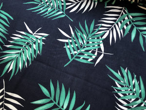 Thin Palm Leaves Navy - Linen