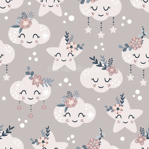 Floral Moon Rainbows 4 - Woven Cotton