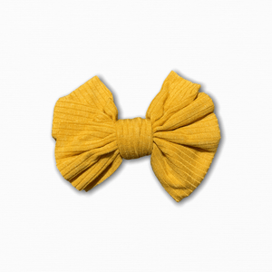 Stretch Ribbed Knit Mustard Bow