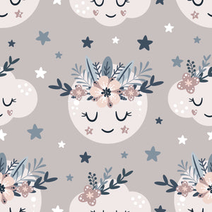 Floral Moon Rainbows 3 - Woven Cotton