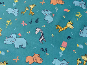 Cute Animals - Aqua | Cotton Fabric Online Australia