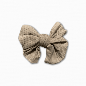 Stretch Ribbed Knit Beige Bow