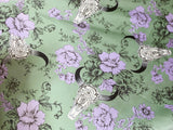 Skulls and Florals Polyester Satin
