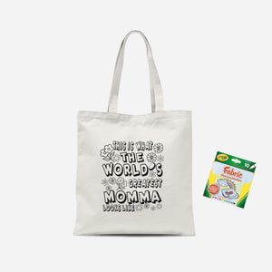 Colour Me In This is What The Greatest Mom Looks Like Tote Bag And Marker Set