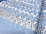 Double Border Light Blue Chiffon Broderie Anglaise