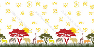 African Animal Safari Double Border White - Woven Cotton