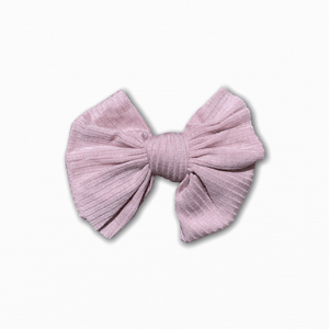 Stretch Ribbed Knit Pink Bow