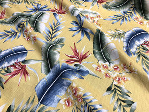 Tropical Palms and Flowers Mustard - Linen