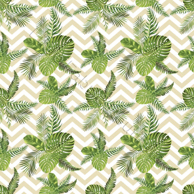 Palm Leaves on Chevron - Woven Cotton