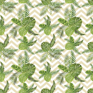 Palm Leaves on Chevron