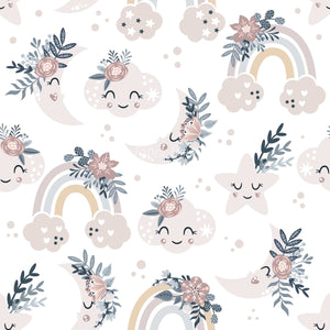 Floral Moon Rainbows 7 - Cotton Twill