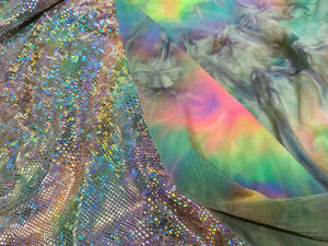 Rainbow Reversible Holographic Shimmer Swim Lycra