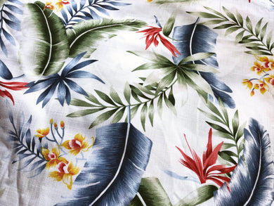 Tropical Palms and Flowers White - Linen