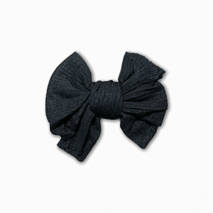 Stretch Ribbed Knit Black Bow