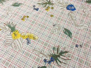 Plaid Floral Leaves White - Linen