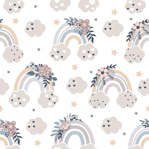 Floral Moon Rainbows 1 - Woven Cotton