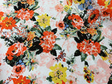 Stretch Cotton Sateen - Orange Florals