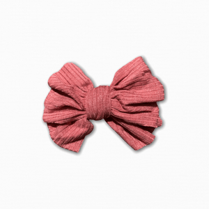 Stretch Ribbed Knit Coral Bow