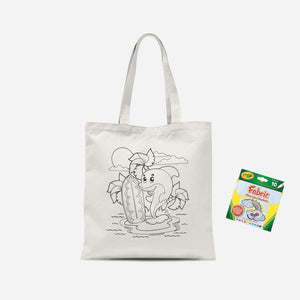 Colour Me In Surfing Dolphin Tote Bag And Marker Set