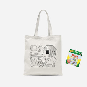 Colour Me In Sheep Tote Bag And Marker Set