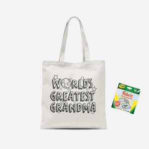 Colour Me In Worlds Greatest Grandma Tote Bag And Marker Set