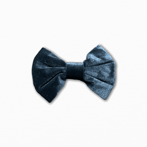 Velvet Solid Dark Teal Bow