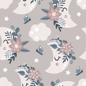 Floral Moon Rainbows 5 - Woven Cotton