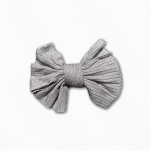 Stretch Ribbed Knit Grey Bow
