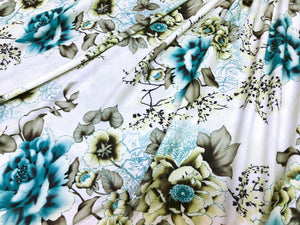 Green Floral on Light Green Ponte Knit | Printed Fabric Online Australia