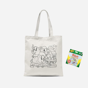 Colour Me In Little Piggies Tote Bag And Marker Set