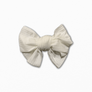Stretch Ribbed Knit White Bow
