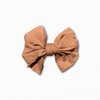 Stretch Ribbed Knit Tan Bow