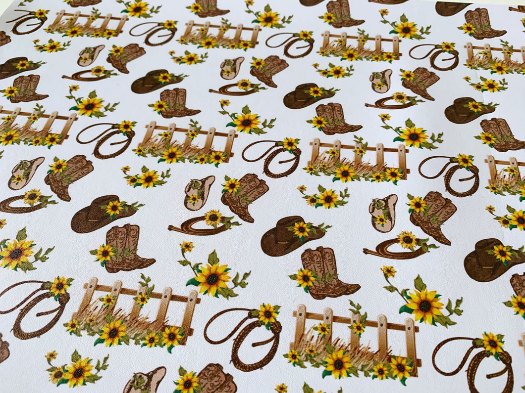 Sunflower Cowgirl Faux PU Leather