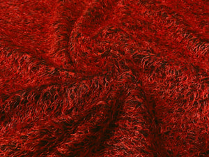 Red/Black Soft Shaggy Fabric